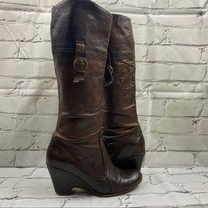 Steve Madden vegan leather wedge heel boots